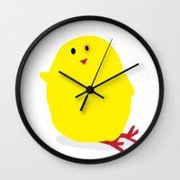 Cute Fluffy Yellow Baby Chick Wall Clock