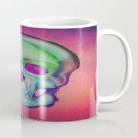 Watercolor skull/Blue Mug