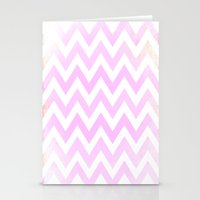 Pale Pink Textured Chevr… Stationery Cards