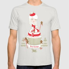 Merry Lady Christmas Cupcake Mens Fitted Tee Silver SMALL