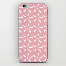 White flowers on pink iPhone & iPod Skin