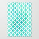 Watercolor Mint Diamonds Canvas Print