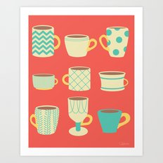 Retro Cups Art Print