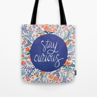 Stay Curious – Navy & … Tote Bag