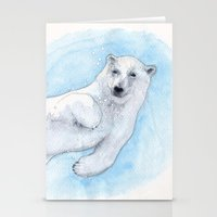 polar bear Stationery Cards featuring Polar bear underwater by Savousepate