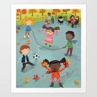 New York Fall Playground Art Print