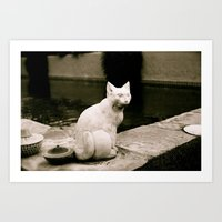 Concrete Cat Art Print