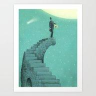 Art Print featuring Moon Steps by Eric Fan