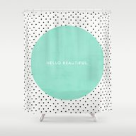 MINT HELLO BEAUTIFUL - P… Shower Curtain