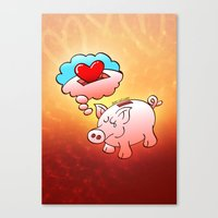 Piggy Bank Daydreaming of Hearts instead of Coins Canvas Print