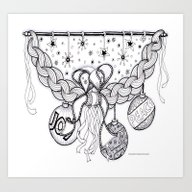 Christmas Zentangle Swag… Art Print