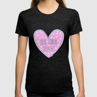 Be Shh Now Womens Fitted Tee Tri-Black SMALL