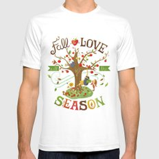 Fall in Love with the Season White SMALL Mens Fitted Tee
