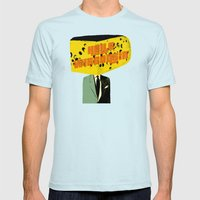 Hello Wisconsin Mens Fitted Tee Light Blue SMALL