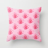 Pink Rose Swirl Petals Throw Pillow