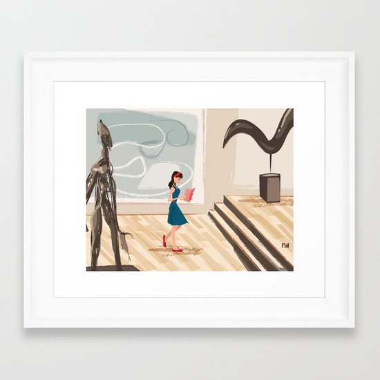 Pretty Girl at the Art Museum Framed Art Print