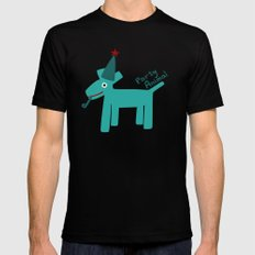 Party Animal-Teal Mens Fitted Tee Black SMALL