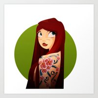 the girl with the flower tattoo Art Print