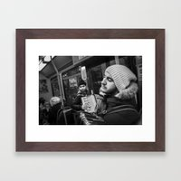 Playing the accordion in the tram for a living 2, Göteborg Sweden Framed Art Print