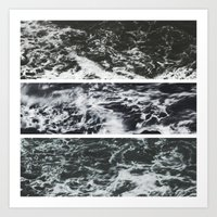 Saltwater Trytych Var II - blacks Art Print