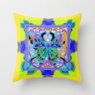 Throw Pillow featuring Green-Gold Geometric Pur… by SharlesArt