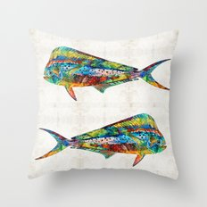 Colorful Dolphin Fish by Sharon Cummings Throw Pillow