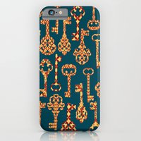 iPhone & iPod Case featuring Yellow and Red Skeleton Key Pattern by Elephant Trunk Studio