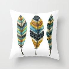 Midnight Feather Trio Throw Pillow