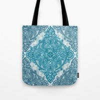Teal & White Lace Pencil… Tote Bag