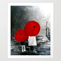 Black White Red Mother A… Art Print