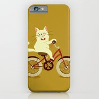 iPhone & iPod Case featuring White cat on a bicycle by Tatiana Obukhovich