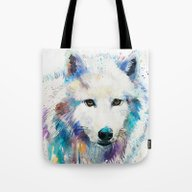 Tote Bag featuring Arctic Wolf by Slaveika Aladjova