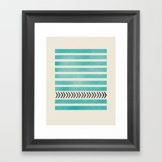 TEAL STRIPES AND ARROWS Framed Art Print