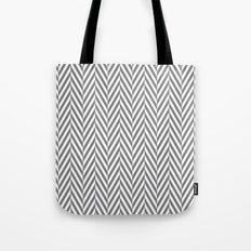 Grey Herringbone Tote Bag