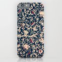 Navy Garden - floral doodle pattern in cream, dark red & blue iPhone & iPod Case