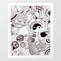 Pattern, doodle, pop-art Art Print