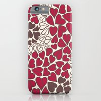 iPhone & iPod Case featuring HEARTS  ~  CRIMSON, CLEAR, BROWN by Kim Moulder