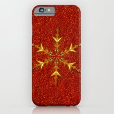 Golden Snowflake on Red Glitters Slim Case iPhone 6s