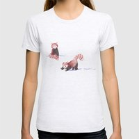 Red Pandas in the Snow Womens Fitted Tee Ash Grey SMALL