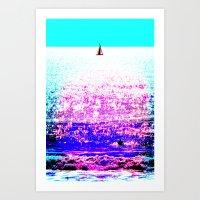 Sailboat And Swimmer (2d… Art Print