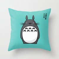 Totoro Pop Art - Blue Version Throw Pillow