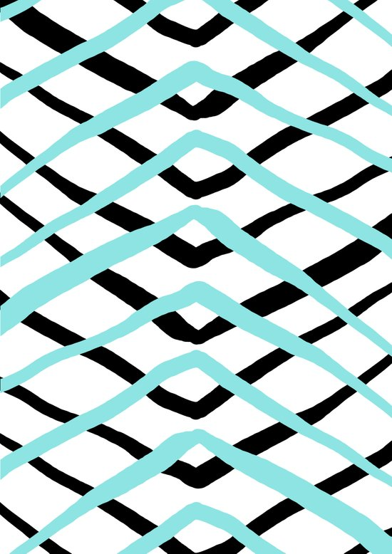 Pattern, turquoise and black Art Print