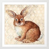 rabbit Art Prints featuring Rabbit by Patrizia Ambrosini