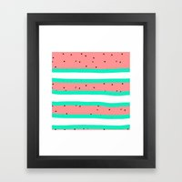 Summer bright coral mint watermelon stripe pattern Framed Art Print