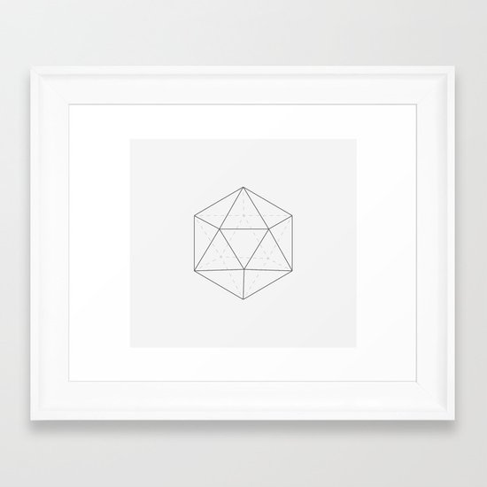 Black & white Icosahedron Framed Art Print