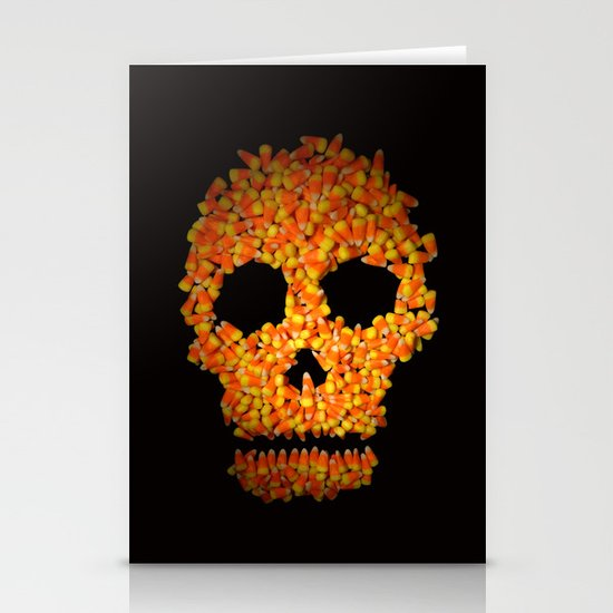Candy Corn Skull Stationery Card