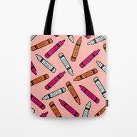 Crayons On Pink Pattern Tote Bag