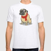 Pug With A Scarf Mens Fitted Tee Ash Grey SMALL