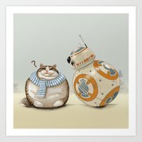 CAT AND DROID Art Print