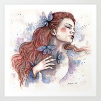 Girl with a butterfly II, watercolor artwork / illustration Art Print